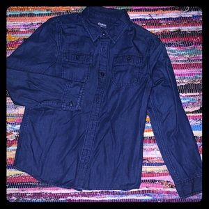 Button-Front Dark blue jean Shirt